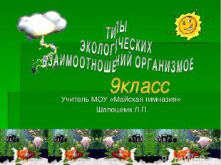 Учитель МОУ «Майская гимназия» Шапошник Л.П.