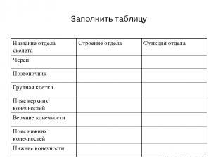 Заполнить таблицу Название отдела скелета Строение отдела Функция отдела Череп П