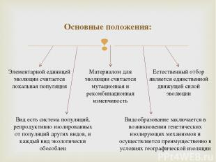 Основные положения: Элементарной единицей эволюции считается локальная популяция