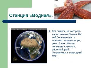 Станция «Водная». Вот снимок, на котором- наша планета Земля. На ней большую час