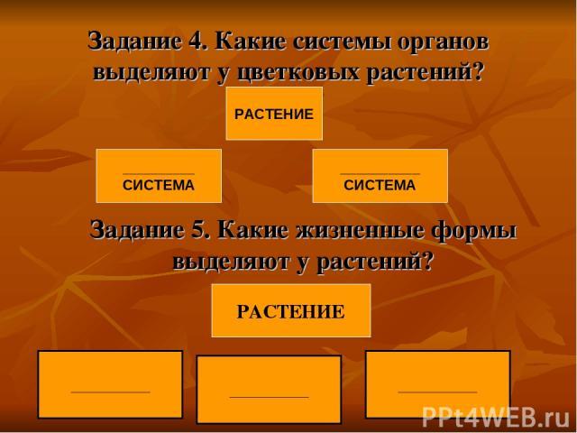 Задание 4. Какие системы органов выделяют у цветковых растений? Задание 5. Какие жизненные формы выделяют у растений? ___________ РАСТЕНИЕ __________ СИСТЕМА __________ СИСТЕМА РАСТЕНИЕ ___________ ___________