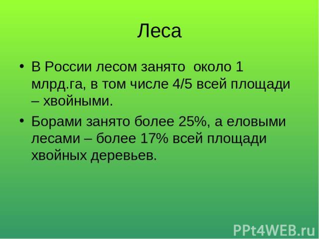 Леса В России лесом занято около 1 млрд.га, в том числе 4/5 всей площади – хвойными. Борами занято более 25%, а еловыми лесами – более 17% всей площади хвойных деревьев.