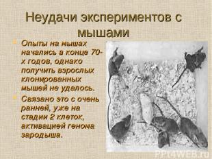 Неудачи экспериментов с мышами Опыты на мышах начались в конце 70-х годов, однак