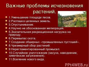 Важные проблемы исчезновения растений. 1.Уменьшение площади лесов. 2.Распашка це