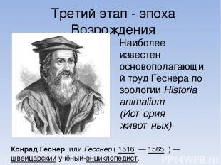 Третий этап - эпоха Возрождения Ко нрад Ге снер, или Гесснер ( 1516 — 1565, )—