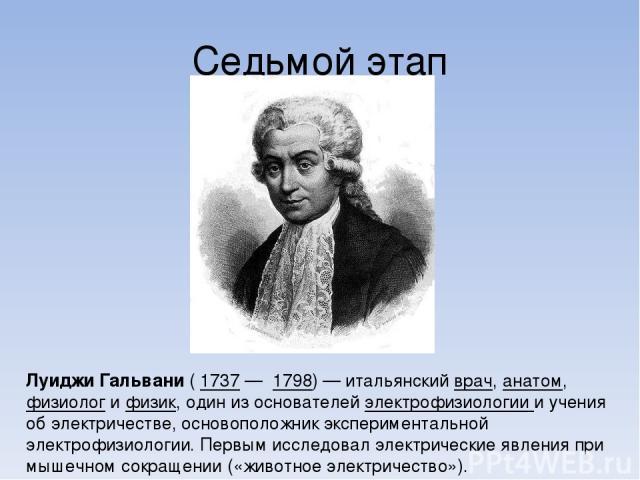 Седьмой этап Луи джи Гальва ни ( 1737 — 1798) — итальянский врач, анатом, физиолог и физик, один из основателей электрофизиологии и учения об электричестве, основоположник экспериментальной электрофизиологии. Первым исследовал электрические явления …