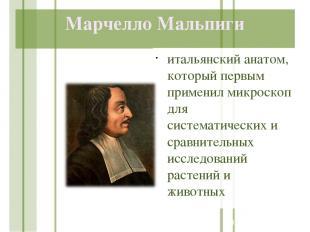 Марчелло Мальпиги итальянский анатом, который первым применил микроскоп для сист