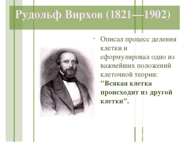 Рудольф Вирхов (1821—1902) Описал процесс деления клетки и сформулировал одно из важнейших положений клеточной теории: