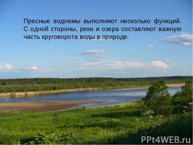 Пресные водоемы выполняют несколько функций. С одной стороны, реки и озера составляют важную часть круговорота воды в природе.