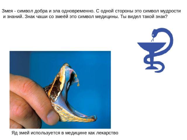 Змея - символ добра и зла одновременно. С одной стороны это символ мудрости и знаний. Знак чаши со змеёй это символ медицины. Ты видел такой знак? Яд змей используется в медицине как лекарство