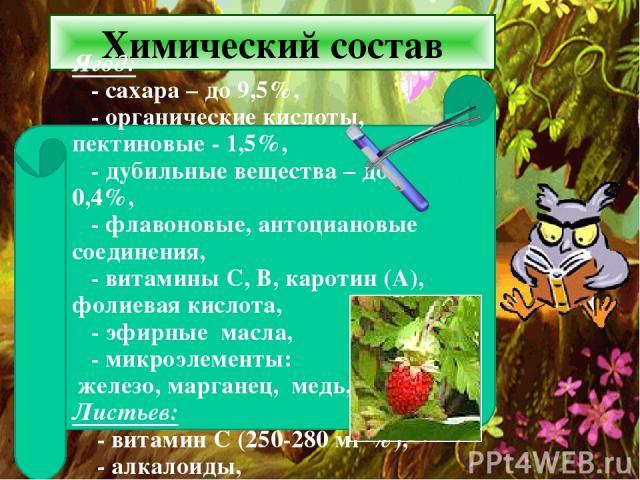 Химический состав Ягод: - сахара – до 9,5%, - органические кислоты, пектиновые - 1,5%, - дубильные вещества – до 0,4%, - флавоновые, антоциановые соединения, - витамины С, В, каротин (А), фолиевая кислота, - эфирные масла, - микроэлементы: железо, м…