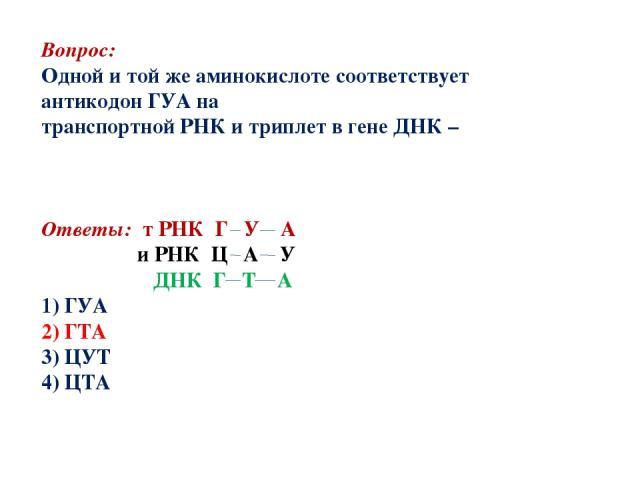 Вопрос: Одной и той же аминокислоте соответствует антикодон ГУА на транспортной РНК и триплет в гене ДНК – Ответы: т РНК Г У А и РНК Ц А У ДНК Г Т А 1) ГУА 2) ГТА 3) ЦУТ 4) ЦТА