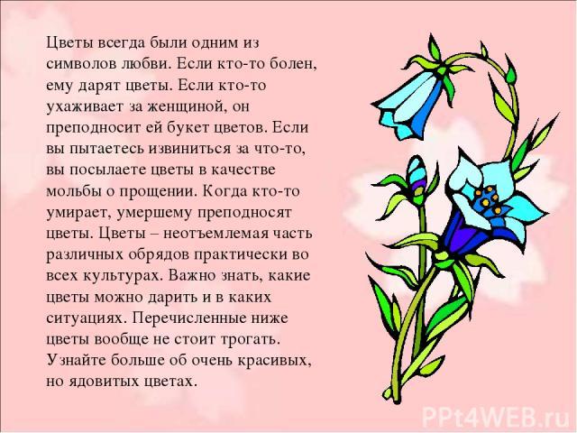 Цветы всегда были одним из символов любви. Если кто-то болен, ему дарят цветы. Если кто-то ухаживает за женщиной, он преподносит ей букет цветов. Если вы пытаетесь извиниться за что-то, вы посылаете цветы в качестве мольбы о прощении. Когда кто-то у…