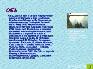 ОБЬ ОБЬ, река в Зап. Сибири. Образуется слиянием Катуни и Бии на Алтае. Впадает