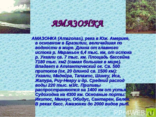 АМАЗОНКА АМАЗОНКА (Amazonas), река в Юж. Америке, в основном в Бразилии, величайшая по водности в мире. Длина от главного истока р. Мараньон 6,4 тыс. км, от истока р. Укаяли св. 7 тыс. км. Площадь бассейна 7180 тыс. км2 (самая большая в мире). Впада…
