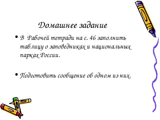 Домашнее задание В Рабочей тетради на с. 46 заполнить таблицу о заповедниках и национальных парках России. Подготовить сообщение об одном из них.