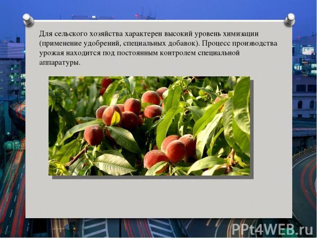 Для сельского хозяйства характерен высокий уровень химизации (применение удобрений, специальных добавок). Процесс производства урожая находится под постоянным контролем специальной аппаратуры.