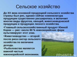 Сельское хозяйство До XX века основной продукцией сельского хозяйства страны был