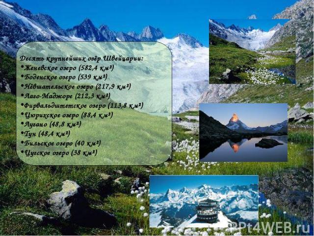 Десять крупнейших озёр Швейцарии: Женевское озеро (582,4 км²) Боденское озеро (539 км²) Нёвшательское озеро (217,9 км²) Лаго-Маджоре (212,3 км²) Фирвальдштетское озеро (113,8 км²) Цюрихское озеро (88,4 км²) Лугано (48,8 км²) Тун (48,4 км²) Бильское …