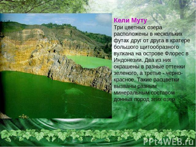 Кели Муту Три цветных озера расположены в нескольких футах друг от друга в кратере большого щитообразного вулкана на острове Флорес в Индонезии. Два из них окрашены в разные оттенки зеленого, а третье - черно-красное. Такие расцветки вызваны разным …
