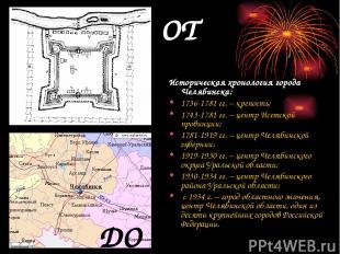 Историческая хронология города Челябинска: 1736-1781 гг. – крепость; 1743-1781 г