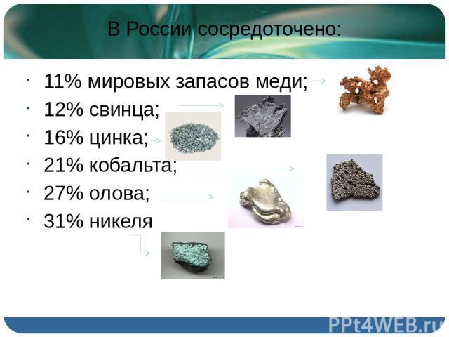 В России сосредоточено: 11% мировых запасов меди; 12% свинца; 16% цинка; 21% кобальта; 27% олова; 31% никеля