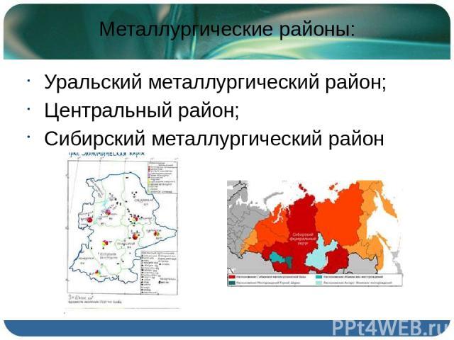 Металлургические районы: Уральский металлургический район; Центральный район; Сибирский металлургический район