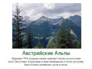 Австрийские Альпы Примерно 70% площади страны занимают Альпы, их восточная часть