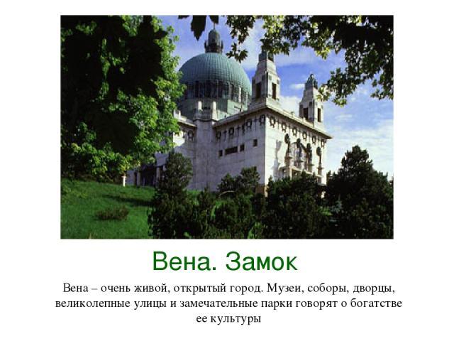 Вена. Замок Вена – очень живой, открытый город. Музеи, соборы, дворцы, великолепные улицы и замечательные парки говорят о богатстве ее культуры