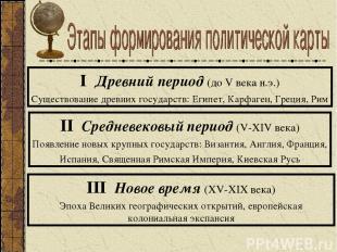 I Древний период (до V века н.э.) Существование древних государств: Египет, Карф