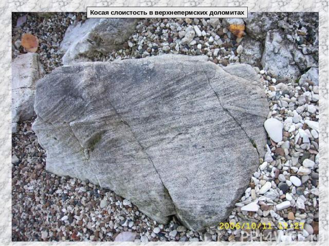 Косая слоистость в верхнепермских доломитах