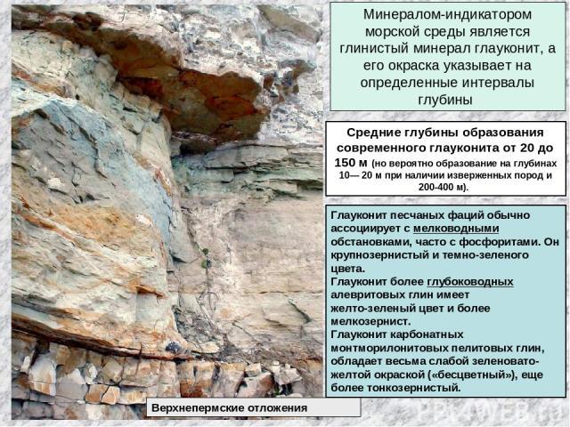 Минералом-индикатором морской среды является глинистый минерал глауконит, а его окраска указывает на определенные интервалы глубины Средние глубины образования современного глауконита от 20 до 150 м (но вероятно образование на глубинах 10— 20 м при …