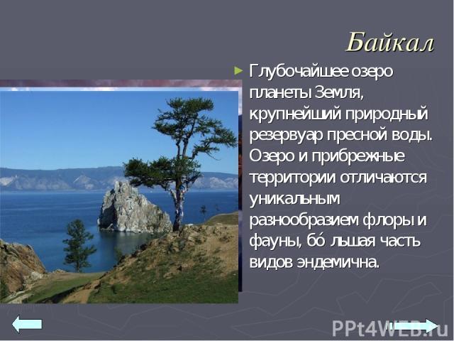 Байкал Глубочайшее озеро планеты Земля, крупнейший природный резервуар пресной воды. Озеро и прибрежные территории отличаются уникальным разнообразием флоры и фауны, бо льшая часть видов эндемична.