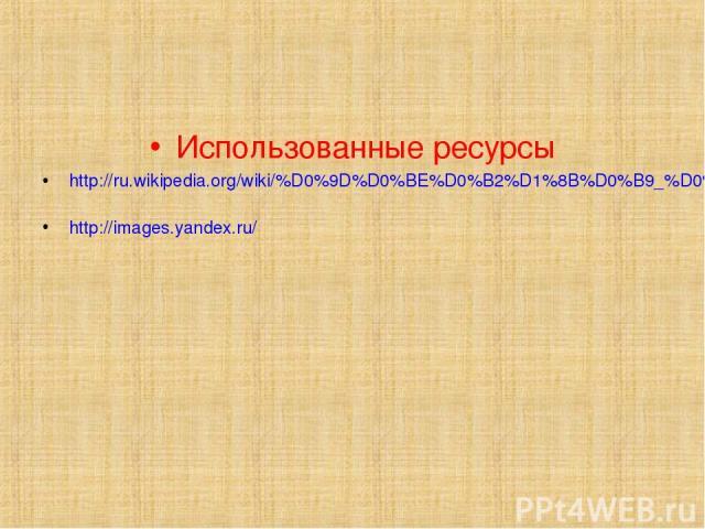 Использованные ресурсы http://ru.wikipedia.org/wiki/%D0%9D%D0%BE%D0%B2%D1%8B%D0%B9_%D0%B3%D0%BE%D0%B4 http://images.yandex.ru/
