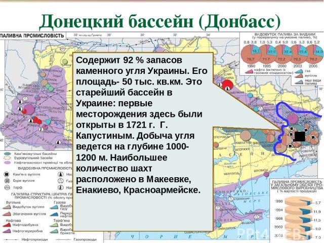 Содержит 92 % запасов каменного угля Украины. Его площадь- 50 тыс. кв.км. Это старейший бассейн в Украине: первые месторождения здесь были открыты в 1721 г. Г. Капустиным. Добыча угля ведется на глубине 1000- 1200 м. Наибольшее количество шахт распо…