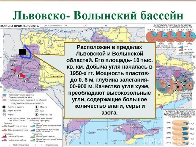 Львовско- Волынский бассейн , Расположен в пределах Львовской и Волынской областей. Его площадь- 10 тыс. кв. км. Добыча угля началась в 1950-х гг. Мощность пластов- до 0. 6 м, глубина залегания- 00-900 м. Качество угля хуже, преобладают высокозольны…