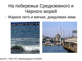 На побережье Средиземного и Черного морей Жаркое лето и мягкая, дождливая зима К