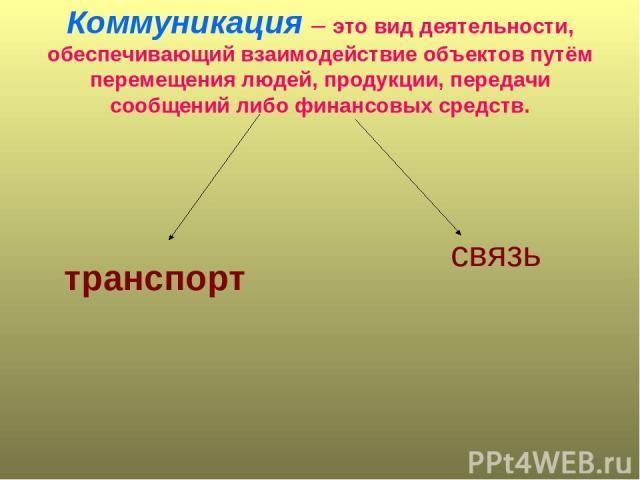 Коммуникация – это вид деятельности, обеспечивающий взаимодействие объектов путём перемещения людей, продукции, передачи сообщений либо финансовых средств. транспорт связь