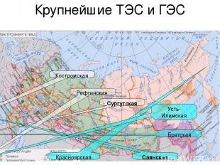 Крупнейшие ТЭС и ГЭС Костромская Сургутская Рефтинская Саянская Красноярская Бра