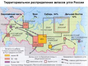 Европейская часть 18% Урал 7% Сибирь 64% Дальний Восток 12% Территориальное расп