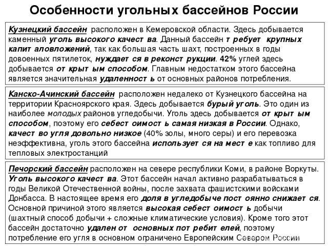 Особенности угольных бассейнов России Кузнецкий бассейн расположен в Кемеровской области. Здесь добывается каменный уголь высокого качества. Данный бассейн требует крупных капиталовложений, так как большая часть шахт, построенных в годы довоенных пя…