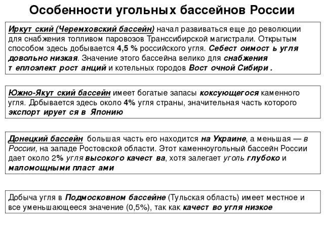 Особенности угольных бассейнов России Иркутский (Черемховский бассейн) начал развиваться еще до революции для снабжения топливом паровозов Транссибирской магистрали. Открытым способом здесь добывается 4,5 % российского угля. Себестоимость угля довол…