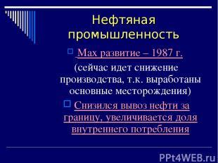 Нефтяная промышленность Max развитие – 1987 г. (сейчас идет снижение производств