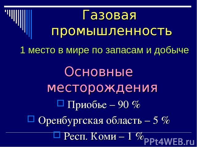 Основные месторождения Приобье – 90 % Оренбургская область – 5 % Респ. Коми – 1 % Газовая промышленность 1 место в мире по запасам и добыче