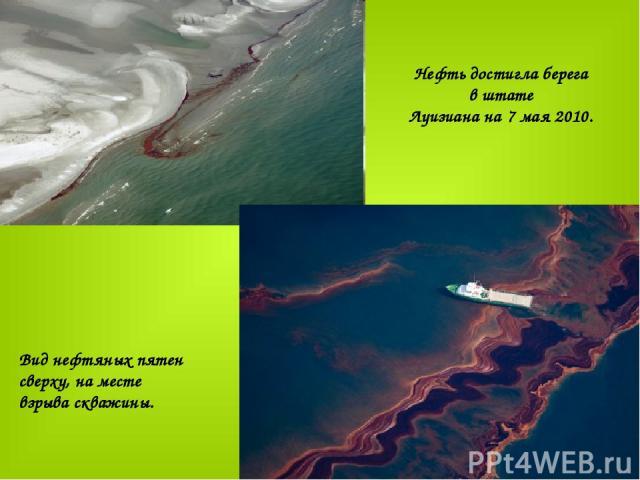Нефть достигла берега в штате Луизиана на 7 мая 2010.   Вид нефтяных пятен сверху, на месте взрыва скважины.