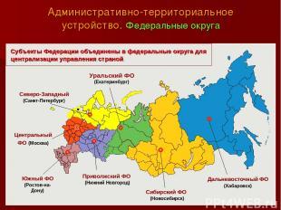 Административно-территориальное устройство. Федеральные округа Уральский ФО (Ека