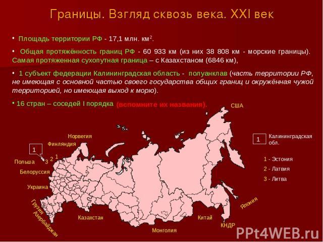 Границы. Взгляд сквозь века. XXI век Площадь территории РФ - 17,1 млн. км2. Общая протяжённость границ РФ - 60 933 км (из них 38 808 км - морские границы). Самая протяженная сухопутная граница – с Казахстаном (6846 км), 1 субъект федерации Калинингр…