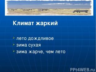 Климат жаркий лето дождливое зима сухая зима жарче, чем лето Летом наступает сез