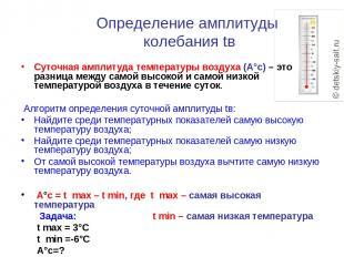 Определение амплитуды колебания tв Суточная амплитуда температуры воздуха (А°с)