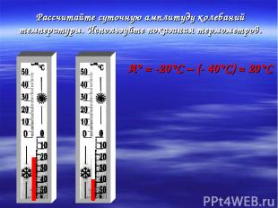 Рассчитайте суточную амплитуду колебаний температуры. Используйте показания терм